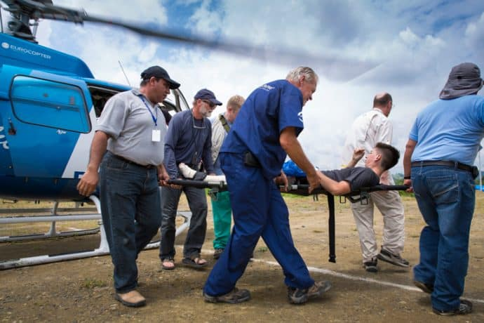 Ecuador earthquake victims are rushed to our Emergency Field Hospital.