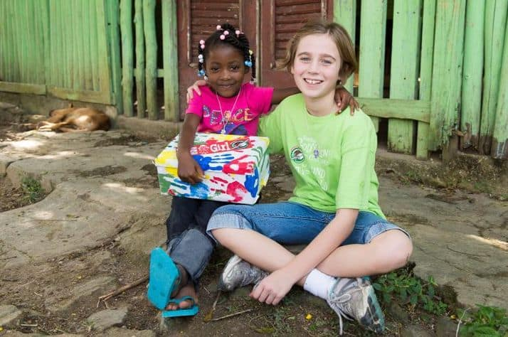 Brenda (left) rejoiced to receive a shoebox filled with gifts and a letter from her new friend Evilyn Pinnow.
