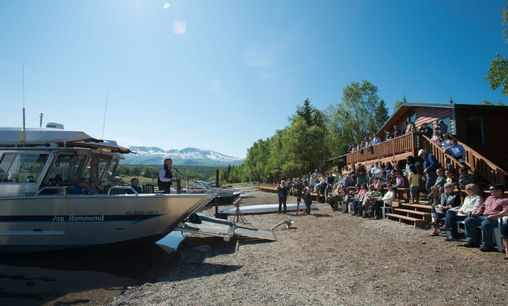 Samaritan Lodge Alaska, a fishing camp turned wilderness retreat, was dedicated in a special ceremony in June 2012. Franklin Graham addressed those in attendance at the dedication, speaking from the Jay Hammond, a special wheelchair-accessible boat that's still an important centerpiece of our watercraft fleet used for excursions with wounded veterans and their spouses on Lake Clark.