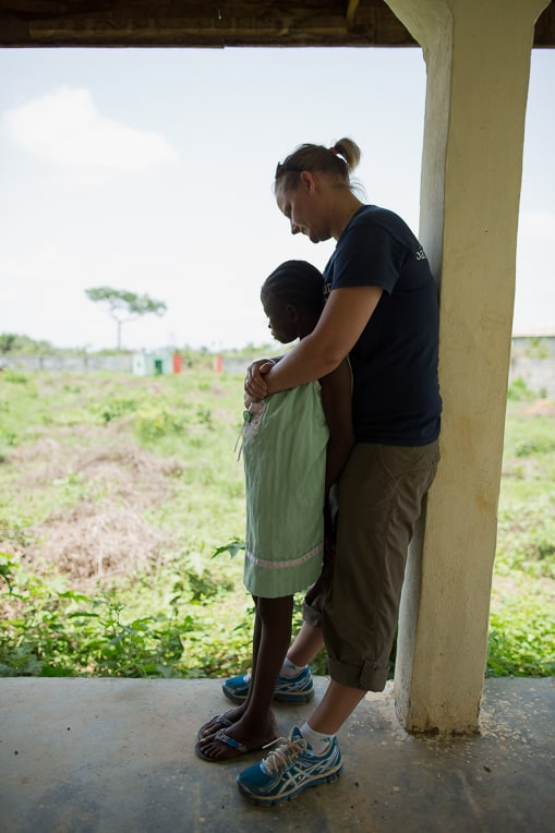 Patience with Samaritan's Purse staff member Joni Byker at the safe home.