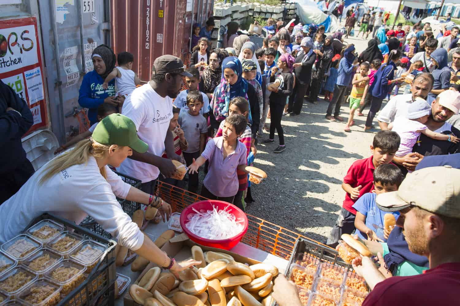 Samaritan's Purse food distribution for refugees in Greece.