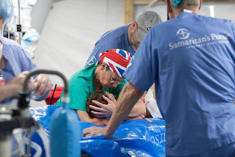 Staff at Samaritan's Purse Emergency Field Hospital outside of Mosul care for a wounded patient.