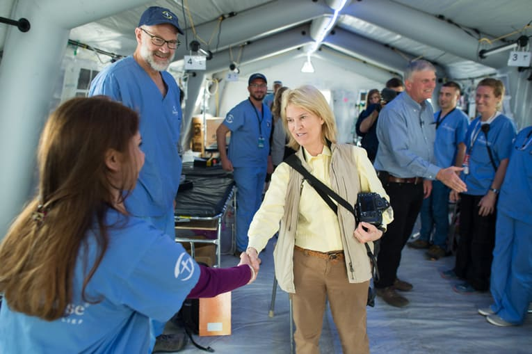 "Greta Van Susteren and Franklin Graham greet our staff at the emergency field hospital outside Mosul.</p></div>""You never know where that person will be in their life when they will remember that, in this dark hour, there were Christian men and women that put them back together, prayed for them, and loved them,"" Graham said. ""I hope and pray that one day they will come to know Jesus Christ as their Lord and Savior."""