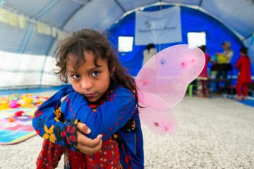 """The idea is to give these children two hours a week of an alternate world—a world where they can be children again,"""" said Jessica Langevin, Child-Friendly Spaces Program Coordinator in Iraq."""