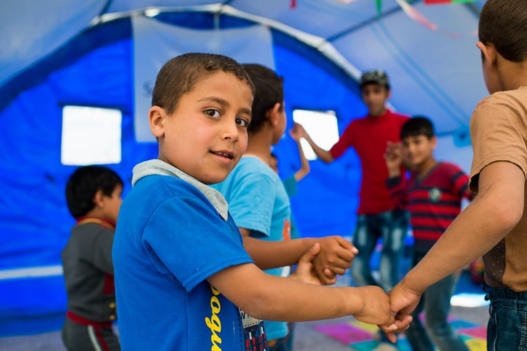 Child-Friendly Spaces provide children a safe place to play and build new friendships.