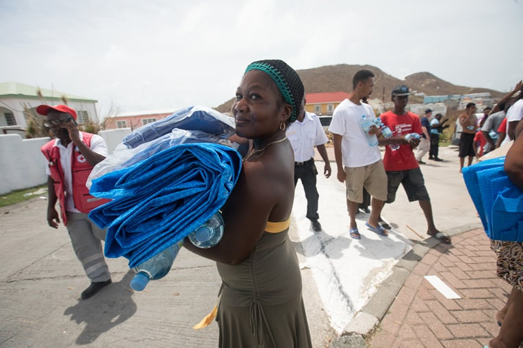 We are distributing shelter materials to displaced people in the Caribbean.