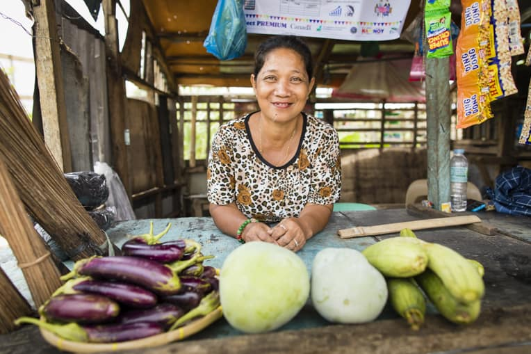 Our livelihoods beneficiaries are able to sell their vegetables in local markets.