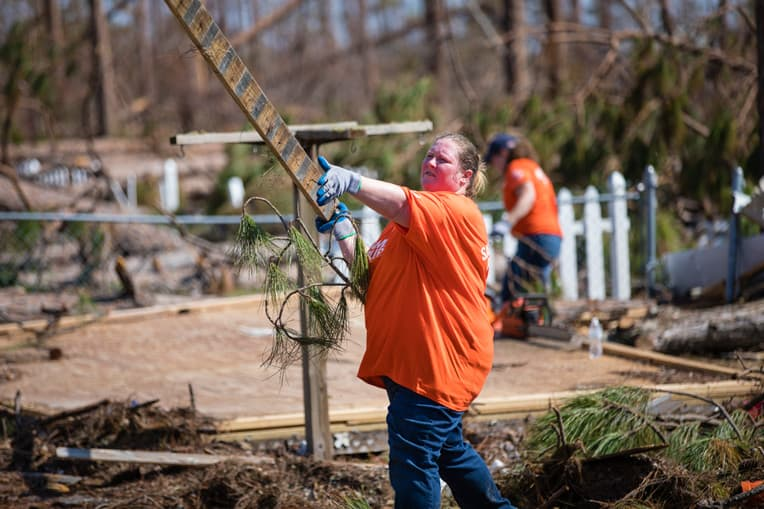 Kristy Kulberg was among the volunteers who served at the Cribbs' home. Weeks before Michael, Samaritan's Purse volunteers helped clean up her property after Hurricane Florence struck the Carolinas.