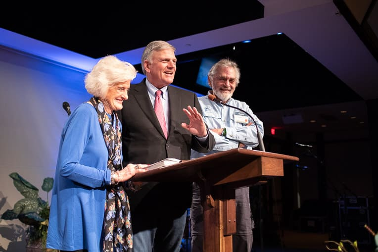 Franklin Graham with Becky Williams, who was recognized for her distinguished service with World Medical Mission.
