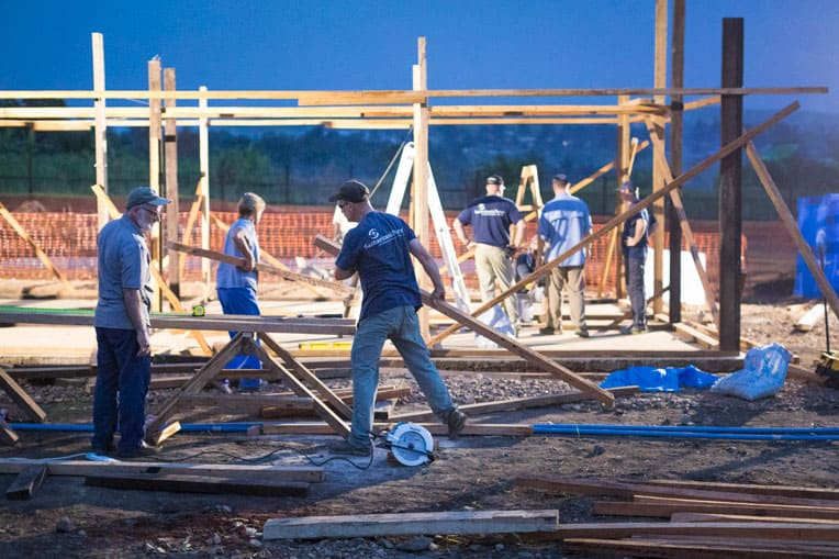 Our teams worked through the night to build patient wards.