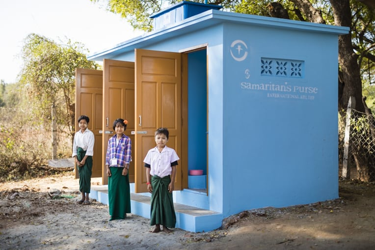 New latrines for the school where Than once attended.