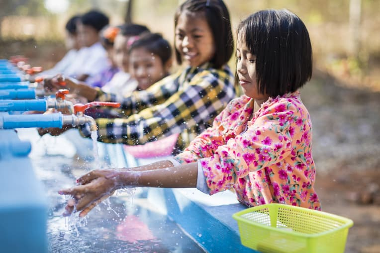 Children are healthier when they regularly wash their hands.