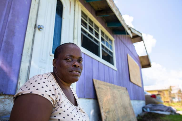 Karen Laroda survived Hurricane Dorian but her community was isolated by a washed out bridge.