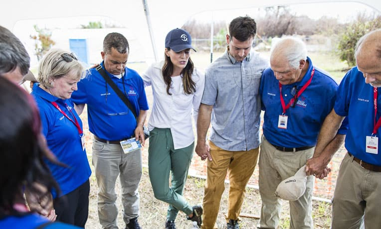 Cissie Graham Lynch and her husband Corey prayed with Billy Graham Rapid Response Team chaplains in Freeport.