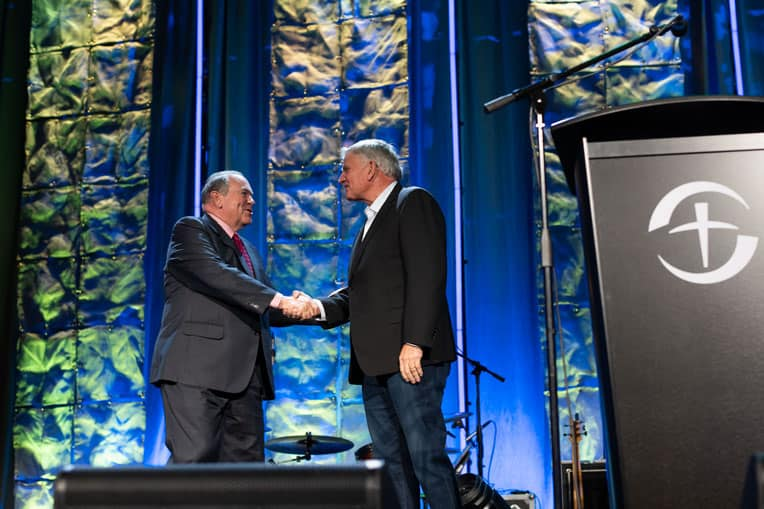 Franklin Graham welcomed former Arkansas Governor Mike Huckabee to the Prescription for Renewal conference where Huckabee addressed doctors, nurses, and other medical professionals.
