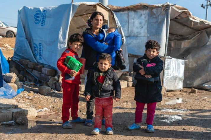 Samaritan's Purse provided warm boots and socks to refugee families in northern Iraq.