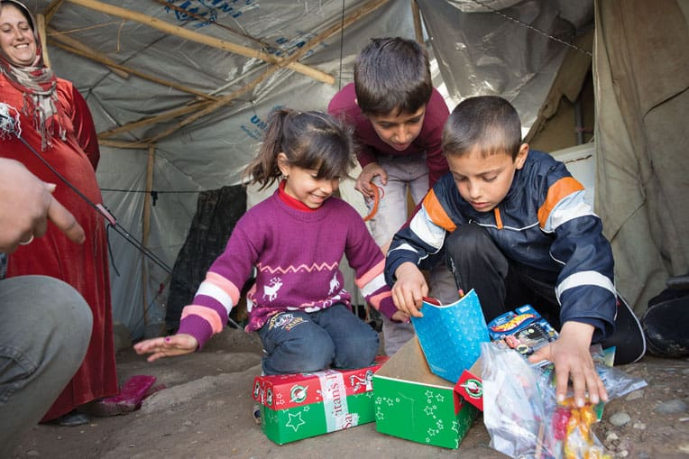 2014 - Samaritan's Purse sent 60,000 shoebox gifts to children living in northern Iraq. Families who'd escaped the war in Syria experienced God's unconditional love through the outreach.