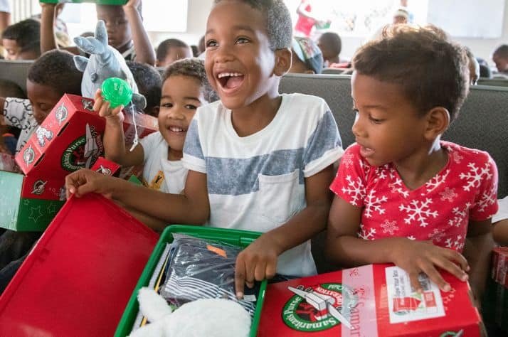 Children in the Dominican Republic are thrilled when they open their gift-filled Operation Christmas Child shoeboxes!