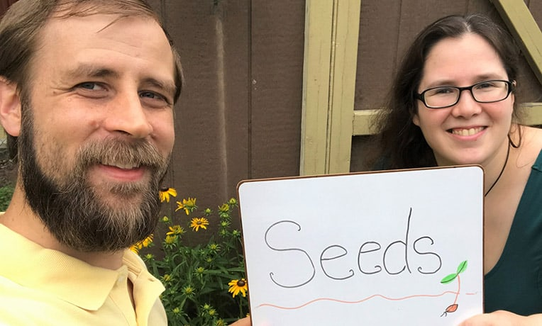 "Josh and Nicole Kingsbury selected ""seeds"" as their one word because shoebox gifts spark life both as they are packed and as they are received."
