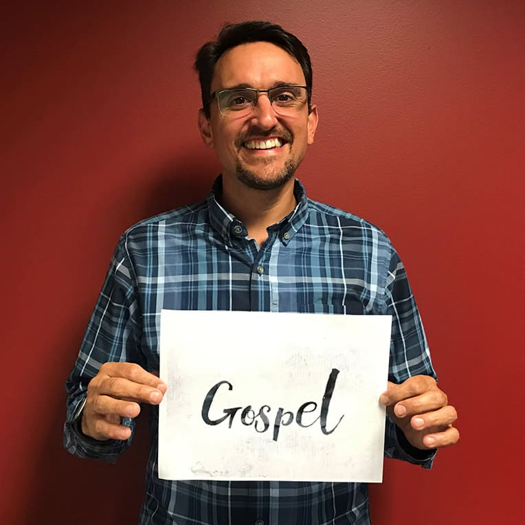 "Nathan Jansen's one word to describe why he packs shoeboxes is ""Gospel."