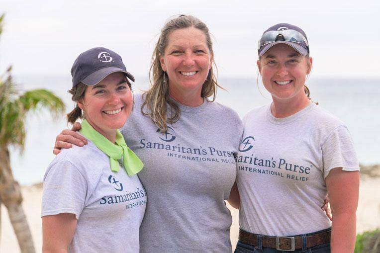 Tyra, Kathleen, and Veronica Esterly enjoy volunteering together with Samaritan's Purse.