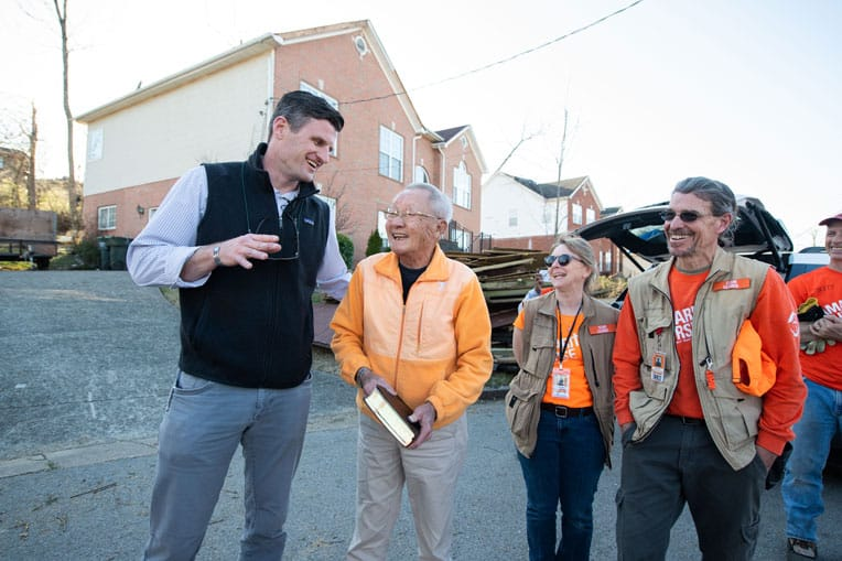 Edward Graham met with homeowners and volunteers after tornadoes swept through middle Tennessee in early 2020.