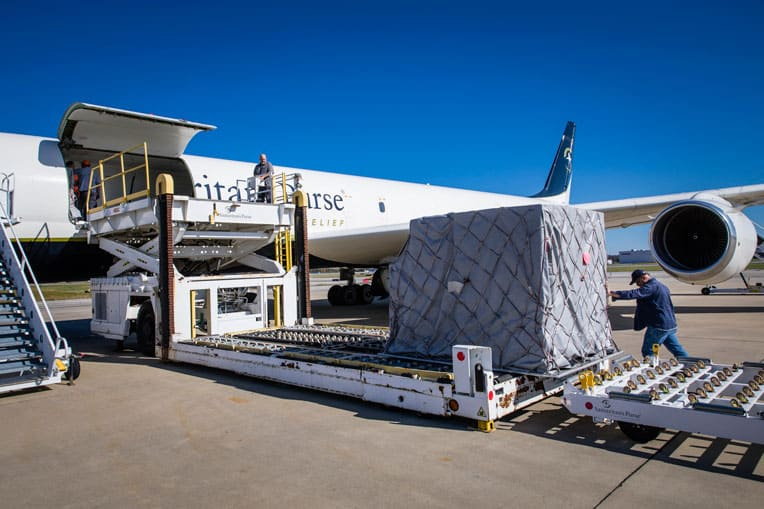 Our DC-8 aircraft was loaded with winter relief supplies for families in need in Yerevan, Armenia.
