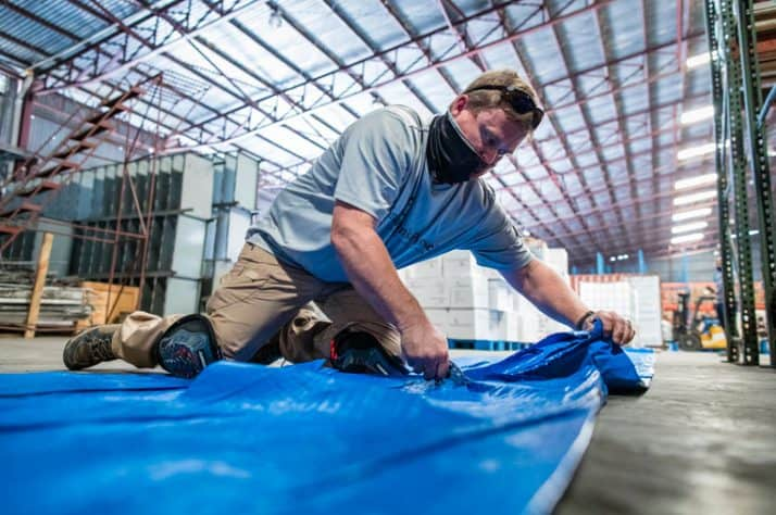 Blue tarp and other shelter materials are critical to our emergency field hospital and for residents impacted by the storm.