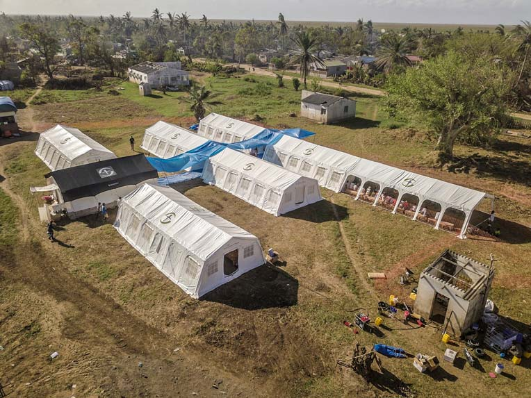 This is an aerial view of our Emergency Field Hospital, as deployed in Buzi, Mozambique.