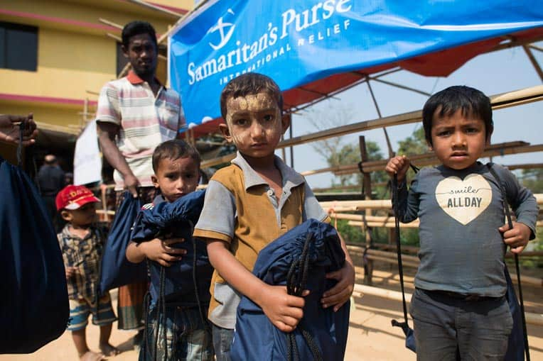 These little boys were among 1,200 Rohingya children who received gifts on Wednesday, Jan. 31. Most kids lost nearly everything during their journey from Myanmar to Bangladesh.