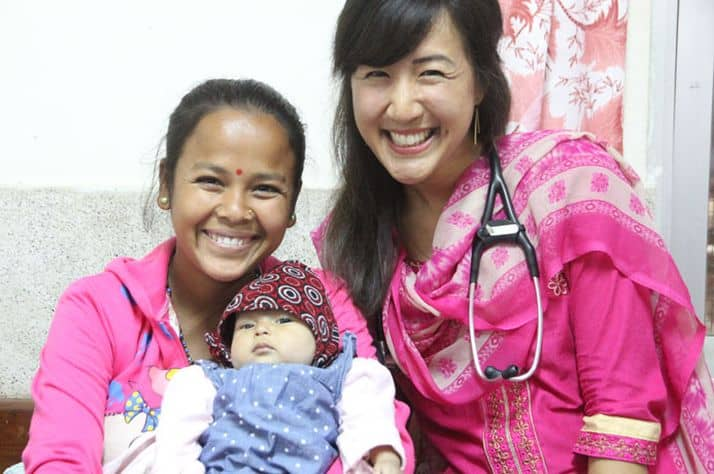Dr. Pearl Lau, right, and baby Sherin and her mother Apsara.