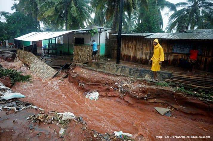 Many homes are flooded and destroyed after Cyclone Kenneth hit Pemba, Mozambique.