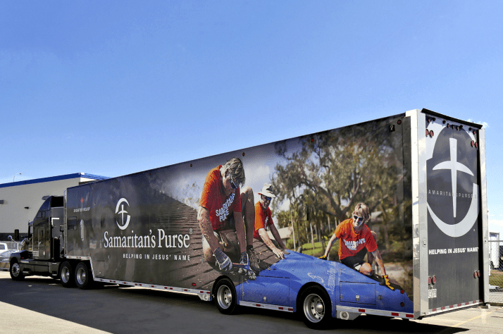 Samaritan's Purse typically deploys one or more of three Disaster Relief Units when responding to disasters in Canada. They are tractor trailers outfitted with essential disaster recovery equipment including generators, pumps, hand tools, and safety gear for volunteers.