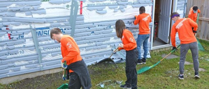 A team of young Samaritan's Purse volunteers cleaned up debris left behind by a massive Calgary hailstorm that smashed the vinyl siding and broke two windows in Michelle's home. Hundreds of homes and vehicles were damaged in the June storm, which may end up being the most costly insurable natural disaster in Canadian history.