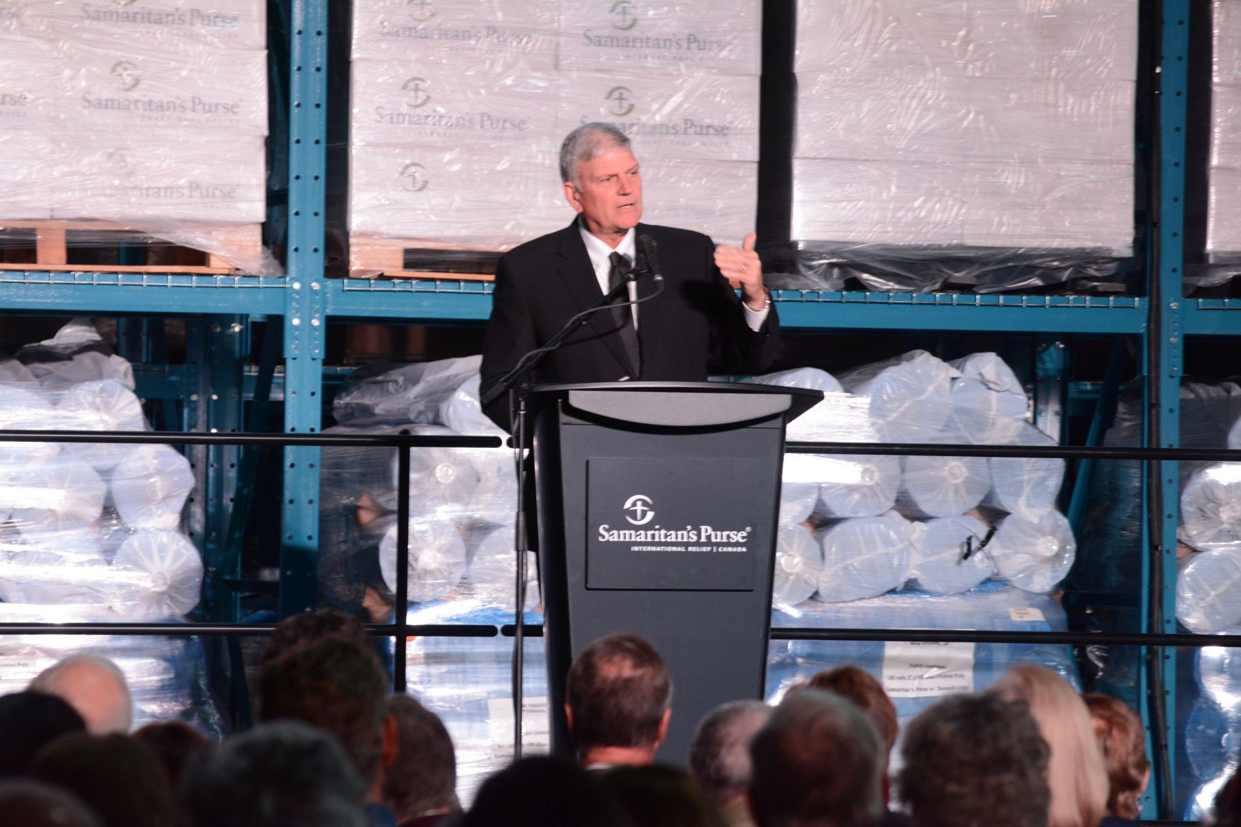 """There's no other facility like this in Canada,"" said Samaritan's Purse President Franklin Graham, who spoke at a dedication event for the warehouse. ""This warehouse enables us to help people (quickly and efficiently) in Jesus' Name."""