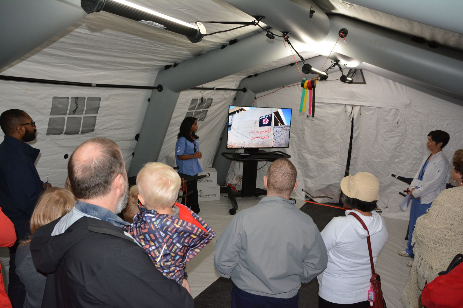 Staff toured guests through an Emergency Field Hospital, which Samaritan's Purse has set up and operated in disaster and war zones.