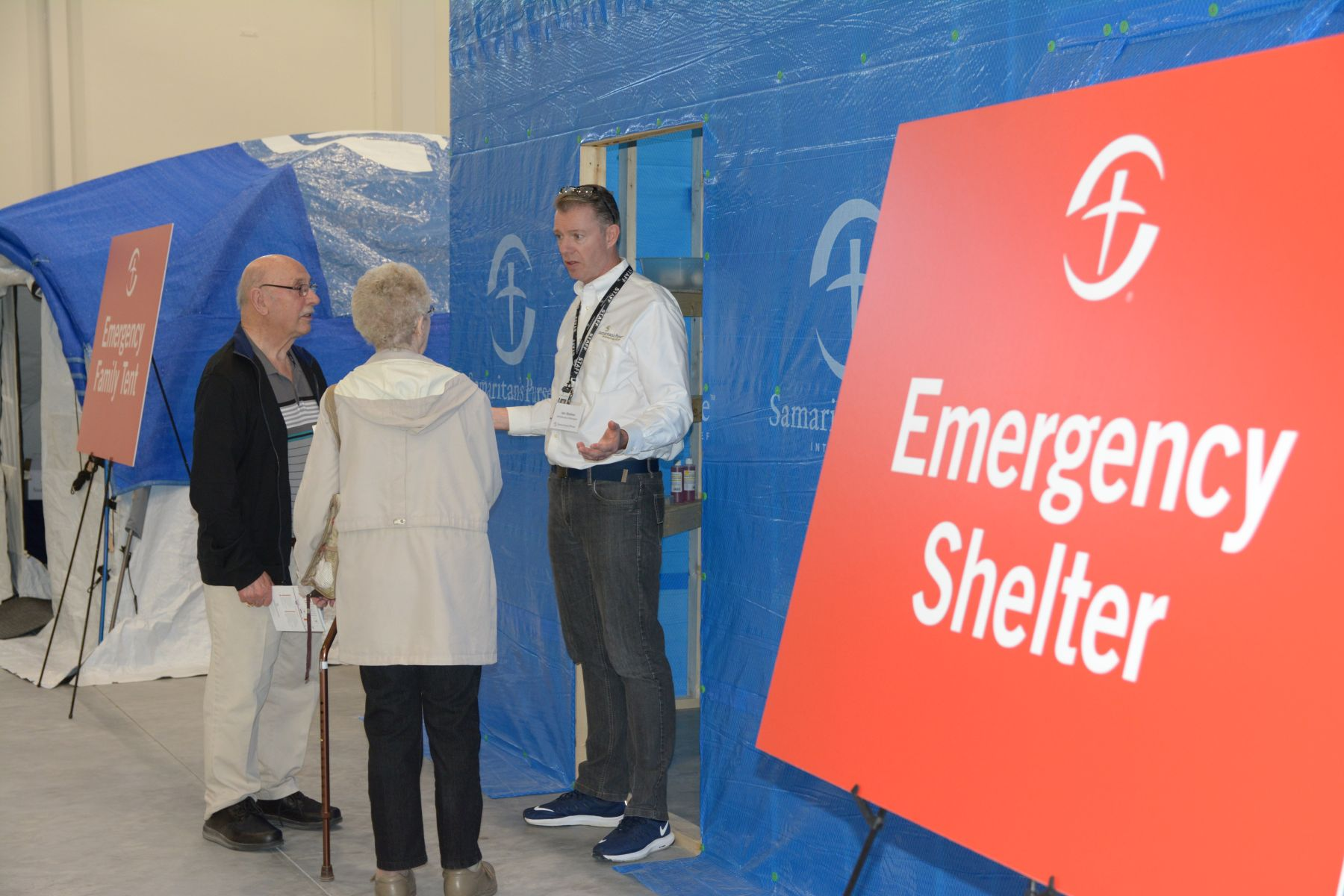 Visitors learned about temporary shelters that Samaritan's Purse has built for disaster victims in places like Haiti.