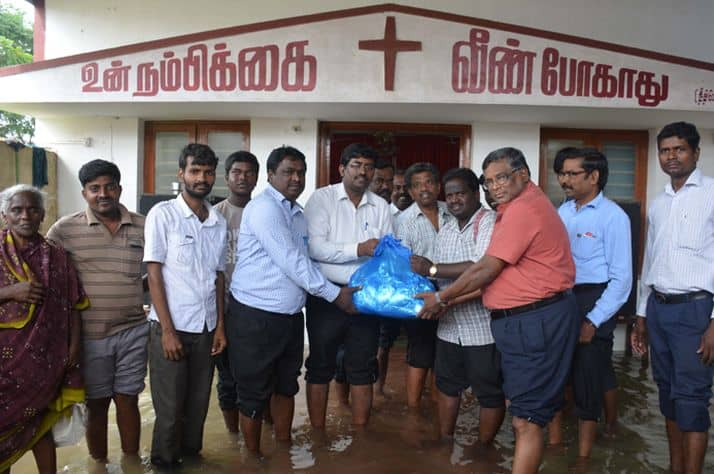 In 2015 Samaritan's Purse distributed food packets to flood victims in Chennai, India.