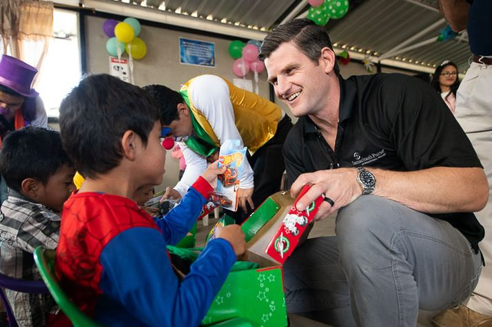 Edward Graham helped distribute Operation Christmas Child shoebox gifts in Ecuador.
