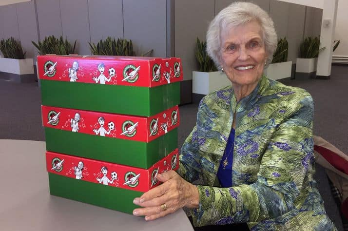 89-year-old Esther Fitzstevens packed 50 shoeboxes for Operation Christmas Child.