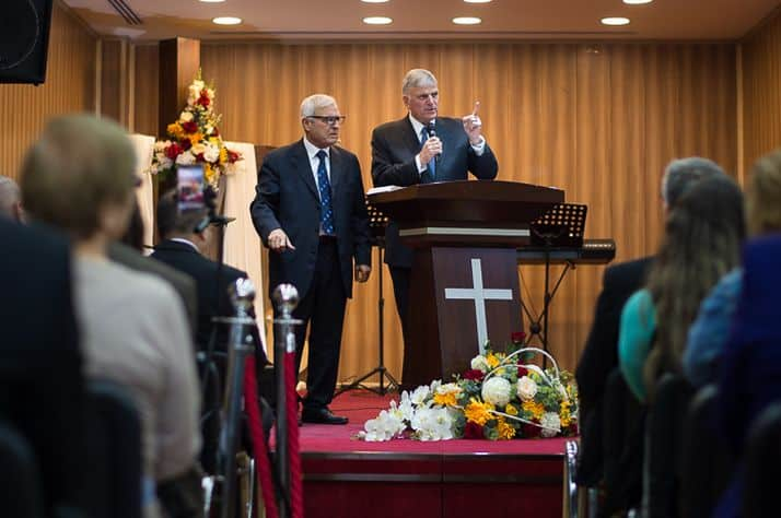 Franklin Graham preaches the Gospel on Easter Sunday in Iraq.
