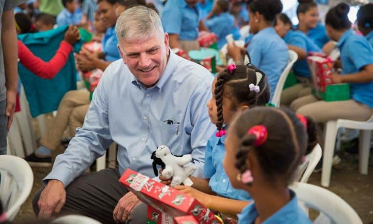 Franklin Graham gave out lots of Operation Christmas Child shoebox gifts Jan. 14 and 15 in the Dominican Republic.