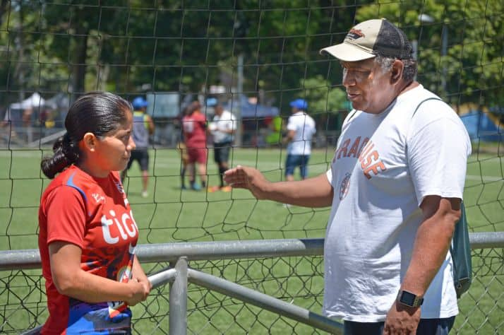 Guadalupe Portillo has had her life transformed by playing in a women's soccer league in El Salvador, funded by Samaritan's Purse donors. Jose Victor Dominguez (right), who leads our efforts with the league, has seen the league transforms lives – athletically and spiritually.