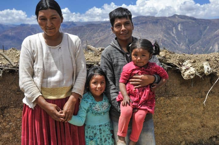 Margarita, Noelia, Abraham, and Karen at their mountaintop home in Chuma, Bolivia.