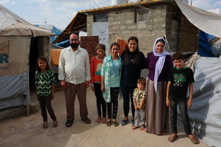 Halo with her family in a Dohuk refugee camp after her surgery.