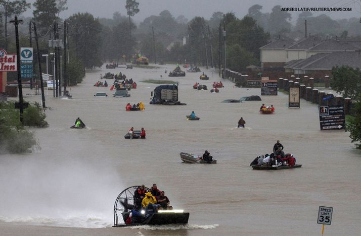 People evacuate east Houston by boat due to flooding caused by Hurricane/Tropical Storm Harvey. Please pray for the people of Texas.