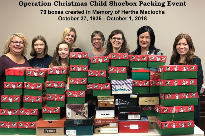 Passionate supporter packs 70 shoeboxes in mother's honor