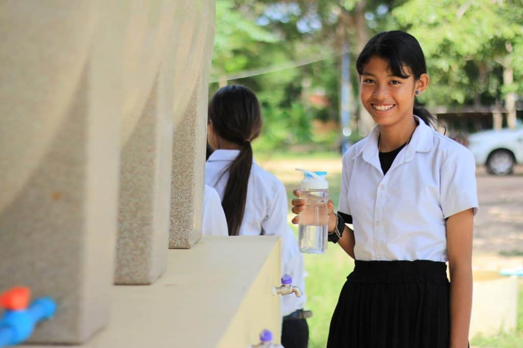 Large school-sized BioSand Water Filters help students to enjoy clean water for drinking and washing throughout the day.