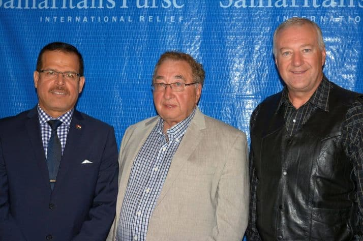 Abdul Kareem Kaab, Iraq's ambassador to Canada, met with Samaritan's Purse representatives (including board member Jack Neufeld, center, and Executive Director Fred Weiss, right) to express his government's appreciation for the physical and spiritual aid provided by Canadians like you through Samaritan's Purse.