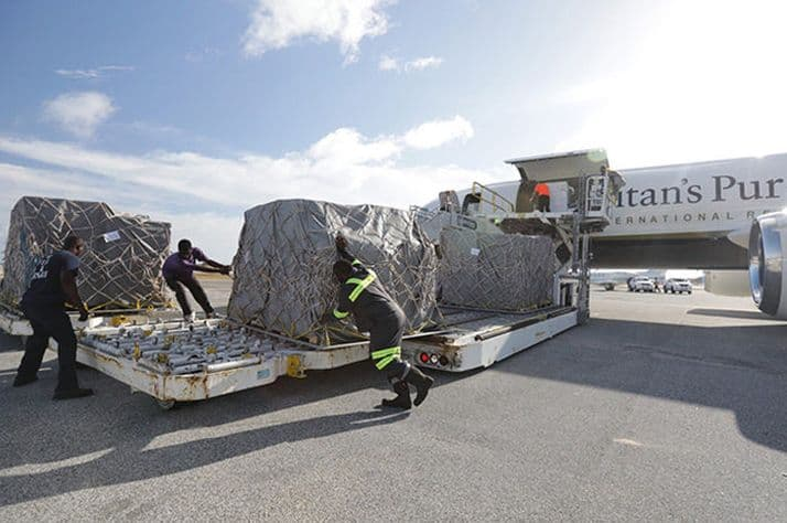 Unloading emergency supplies in St. Maarten. Our team is on the ground there now.